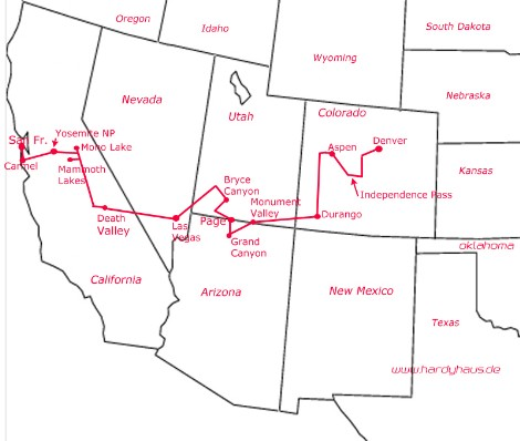 Map Reiseroute USA